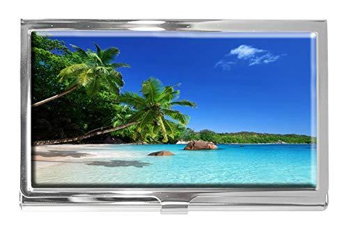 Tropical Paradise Sunshine Beach Coast Sea Palm Trees - Tarjetero de Acero Inoxidable para Hombre y Mujer