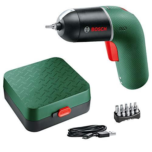 Bosch 06039C7170 Cordless Screwdriver IXO (6th Generation, green, variable SPEED CONTROL, rechargeable with micro USB-cable, in storage case), 126.0 mm*155.0 mm*48.0 mm
