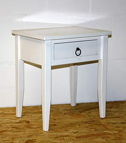 Casa Massivholz Nachttisch Nachtkommode Beistelltisch Nachtschrank weiß