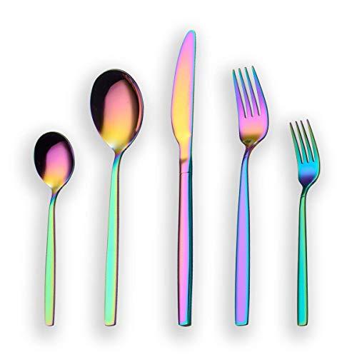 Berglander 30 Stück Titanium Regenbogen Farbe Plated Besteck, 30 Stück bunte Besteck Set, Multi Farbe Besteck Set Besteck, Service für 6 (glänzend Rainbow)
