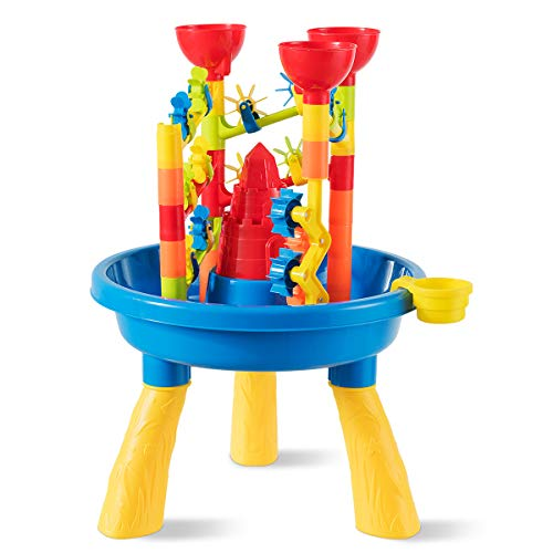 GYMAX Beach Toy Set, Castle Shape Molds Toys, Kids Sand and Water Play Activity Table for Indoor Outdoor Fun (Color 2)