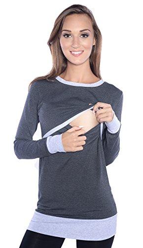 Mija - Moderne 2in1 Stillshirt & Umstandsshirt/Stilltop & Umstandstop 9048 (M, Graphite/Melange)