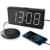 Super Loud Alarm Clock with Bed Shaker for Heavy Sleeper, Dual Vibrating Alarm...