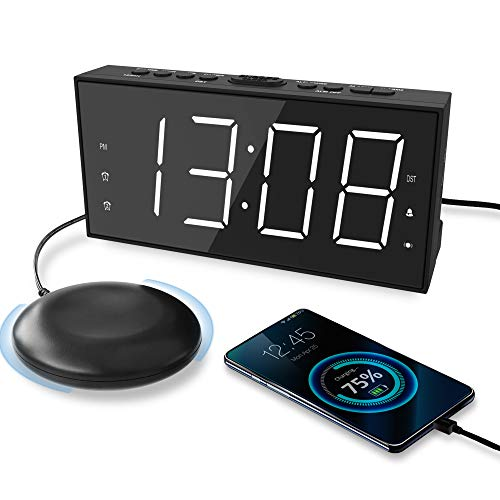 Loud Alarm Clock with Bed Shaker for Heavy Sleeper, Vibrating Alarm Clock with USB Charger for Hearing-impaired Deaf, Dual Alarm Clock, 7.5'' Display with Dimmer, Snooze, 12/24H & Battery Backup