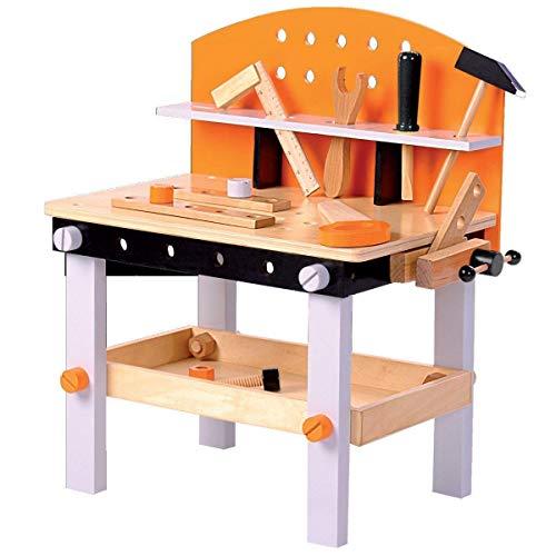 TikTakToo Werkbank Kinder aus Holz FSC® 100%, Kinderwerkbank ist 14-teilig und inkl. Kinderwerkzeug, Spielzeug für Kinder ab 3 Jahren geeignet