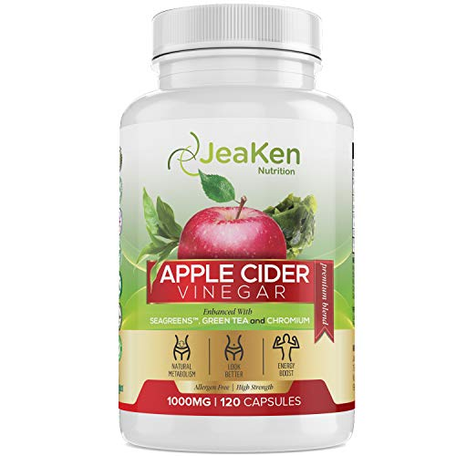 Apple Cider Vinegar Capsules by JeaKen - Enhanced with Seagreens, Green Tea and Chromium - Metabolism Booster and Detox - Appetite Suppressant for Weight Loss - 120 Vegan and Allergen Free Capsules