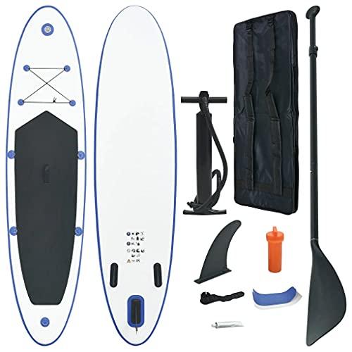 vidaXL Set de Tabla Inflable de Paddle Surf Sup Remo Hinchables Diversión Mar Juegos al Aire Libre Terraza Exterior Deporte Aventura Acuáticos Azul y Blanco