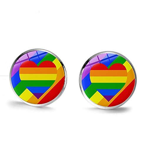 LGBT - Pendientes de orgullo gay, diseño de bandera de arco iris, multicolor