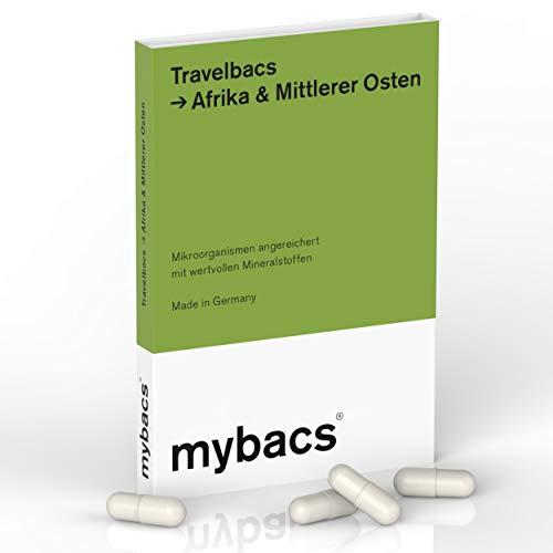 Travelbacs: Verdauung im Einklang auf Reisen in Afrika & Mittlerer Osten | 11 spezifisch ausgewählte Bakterienkulturen [37.5 Milliarden KbEs] | 10 Kapseln | von mybacs