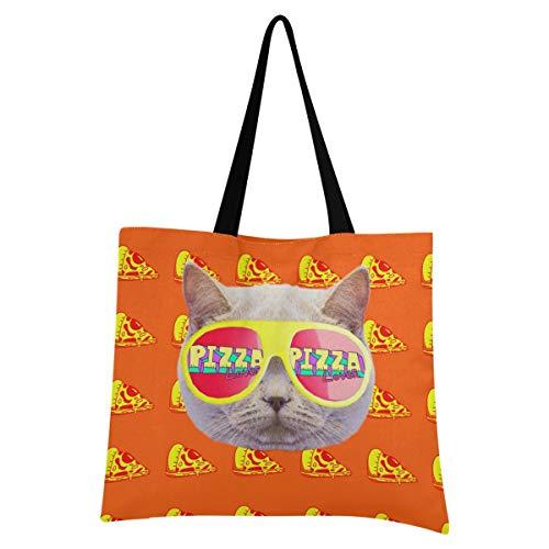 XIXIXIKO - Bolsa de lona para pizza, diseño de gato y animales, ligera, bolsa de playa, bolsa de hombro, resistente para mujeres, niñas, compras, gimnasio, playa, viajes diarios