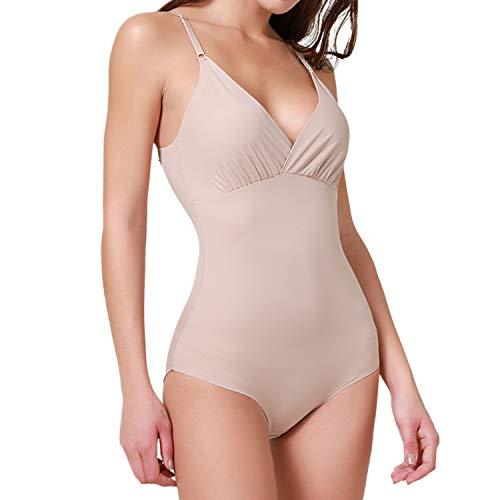 SHAPERIN Damen Comfort Shapewear Body Figurformend Top V Ausschnitt Body Shaper Bauch Weg Unterwäsche mit Hakenverschluß in Hautfarbe Schwarz(Beige-2,L)