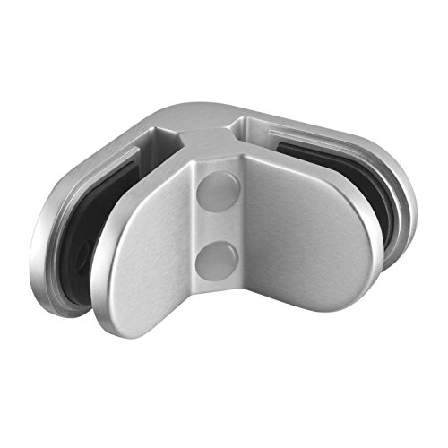 Glasklemme Glasverbinder Winkel 90° 82 x 82 x 45 mm Klemmhalter Glashalter EDELSTAHL V2A (Glasstärke 10 mm)