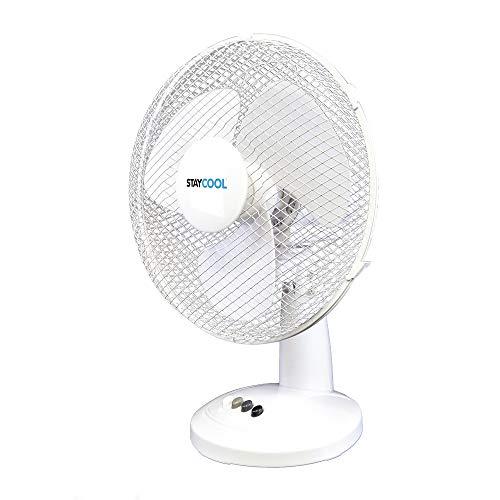 STAYCOOL 12in / 30cm Desk Fan / 3 Speed Settings / 90 Degree Oscillation/Adjustable Vertical Tilt / 40w / Mesh Safety Grill/Quiet Motor/Low Noise/Table Fan / F10011WH / White