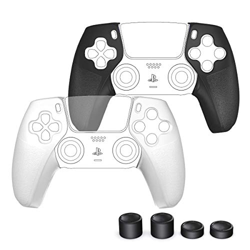 PS5 Controller Grip Skin Compatible with Playstation 5 PS5 Controller, OIVO L/R Controller Grips 2 Pairs with 4 Thumb Grips Compatible for Playstation 5 PS5 Controller