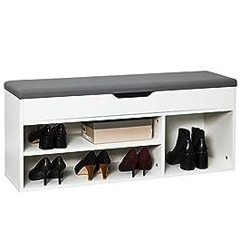 Meerveil Banc de Rangement à Chaussures avec Coussin d'assise 104 x 30 x 45 cm Meuble à Chaussures en Bois, Pour l…