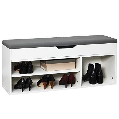 Meerveil Schuhbank aus E1 Holzspanplatte, Aufklappbare Schuhschrank mit Sitzkissen, Flur Schuhregal 104 x 45 x 30 cm (Weiß)