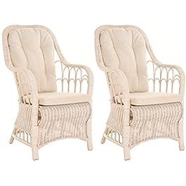 Lot de 2 chaises de salle à manger en rotin avec accoudoirs – Dossier haut (blanc vintage)