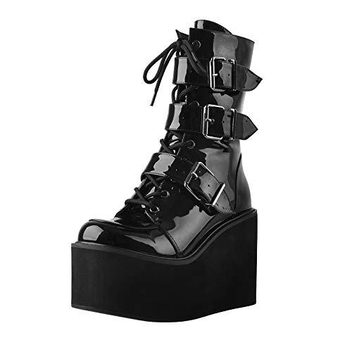 MissHeel Plateau Stiefel Gothik Kurzschaftstiefel Schnallen Reißverschluss Bequeme Übergröße Schuhe Schuhe EU 43