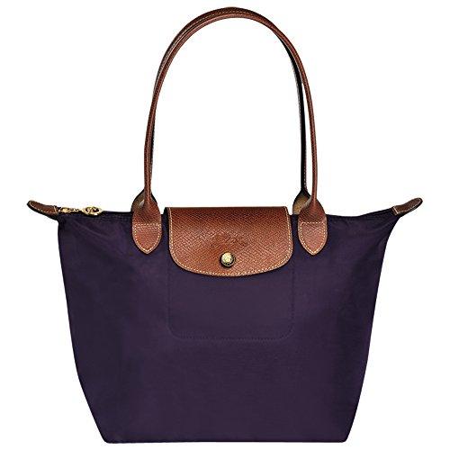 JIWEI Longcham Bag Le Pliage Large Shoulder Tote Bag (Bilberry)
