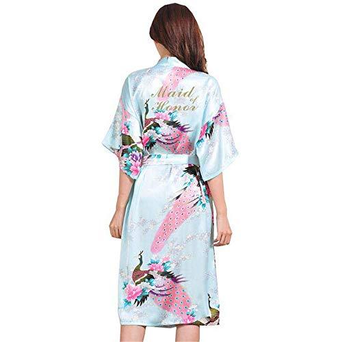 ZSDGY Vestido Largo de Seda/Pijamas Decorativos a Color/Vestido de Dama de Honor/Bata de Novia D-XXL