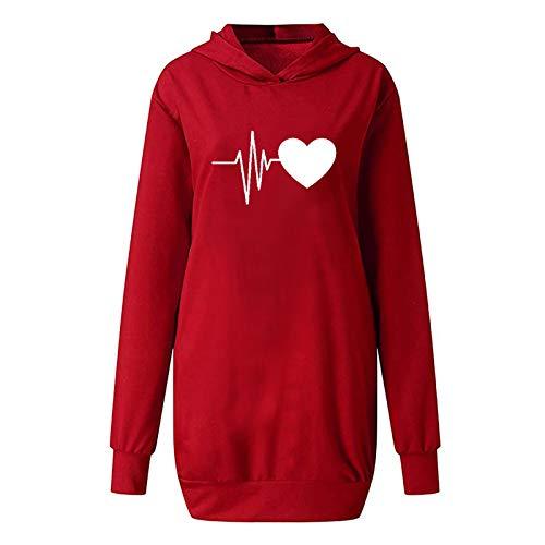 theshyer Sudadera para Mujer Vestido con Capucha y Estampado en Forma de corazón, Camiseta de Manga Larga con Bolsillos, suéter con Capucha de Color Natural