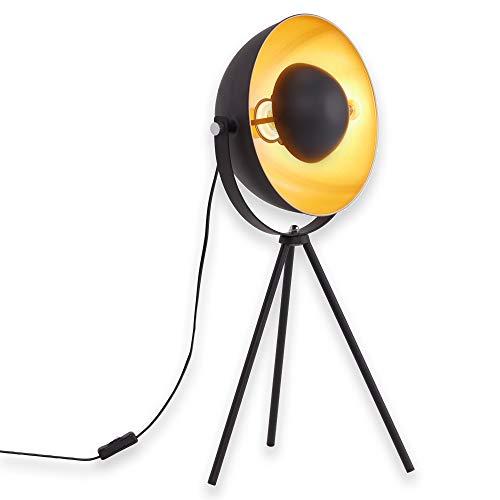 Briloner Leuchten Tischlampe Dreibein/Tripod, Tischlampe,  Metall, Retro-Lampe Schwarz & Gold, Vintage-Dekoration Wohnzimmer, Studio-Leuchte, max. 60 W, E27