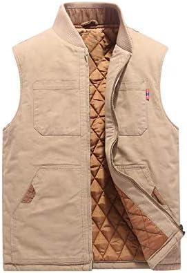 LYLY Vest Women Autumn Winter Men Vest Coat Warm Sleeveless Jacket Casual Men Vest Coat Fleece Army Green Waistcoat Big Size 6XL Vest Warm (Color : Khaki Cotton, Size : L)