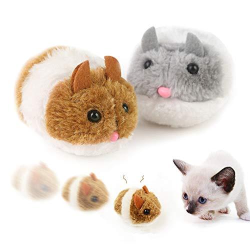 2 Stück Katzenspielzeug Maus Beweglich, Interaktives Katze Spielzeug Mäuse für Katzen Kitty Haustiere, Katzenspielzeug Automatische Maus mit Naturgetreuen, aus Flauschigem Plüsch