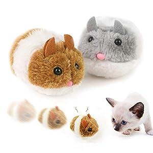 2 Piezas Ratones para Gatos de Peluche, Juguetes para Gatos Raton Interactivo, Ratones para Gatos Que se Mueven, Forma de Mouse Movimiento Automático Irregular, Gris e Marrón