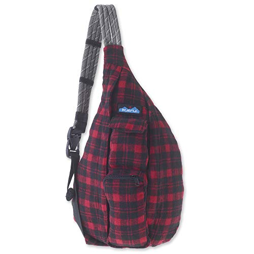 KAVU Plaid Rope Sling Bag Crossbody Backpack with Adjustable Shoulder Strap - Lumberjack