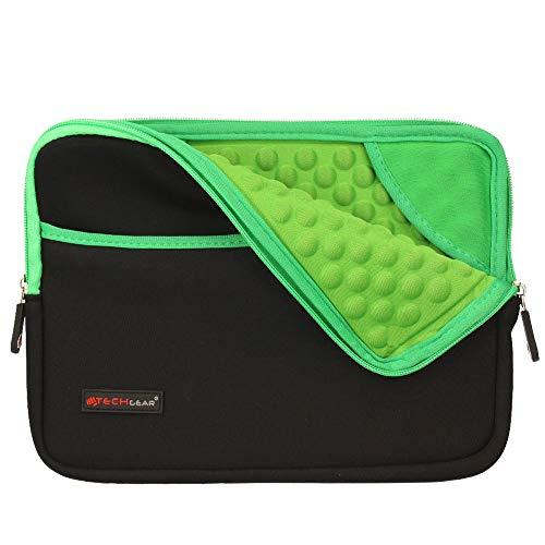 TECHGEAR Cover protettivo manicotto in neoprene Sottile con interno antiurto bolle per il Nuovo iPad 10.2 , iPad Air 4, iPad 9.7 , iPad Pro 11, iPad 10.5 , Air 2, iPad 4 - Verde