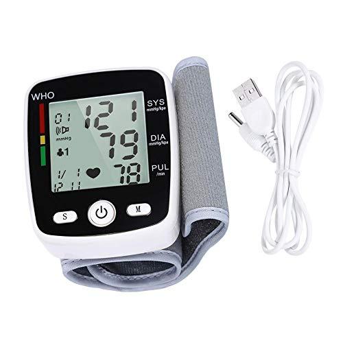 78 65 28 mm en inglés, tensiómetro de muñeca con pantalla digital LCD, luces de control multicolor, medición de frecuencia cardíaca, función de radio de voz y carga USB, color blanco