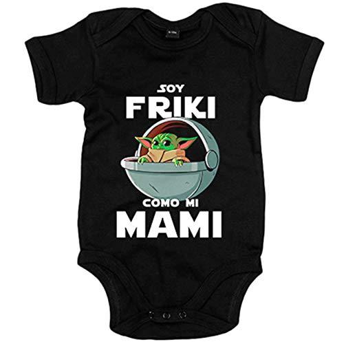 Body bebé soy friki como mi mami ilustración baby yoda - Negro, 6-12 meses