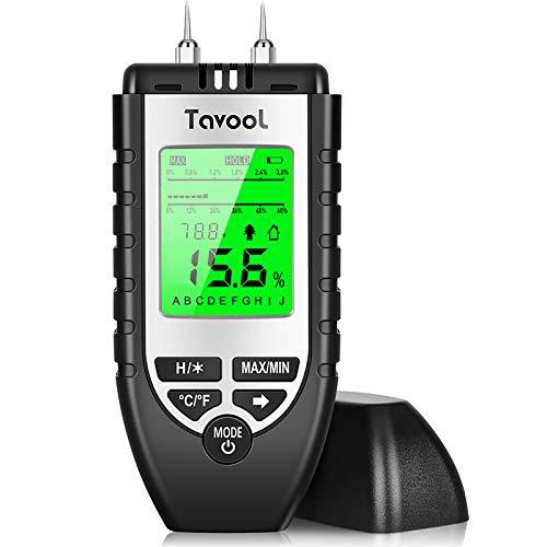 Feuchtigkeitsmessgerät Feuchtigkeitsmesser - Tavool Feuchtigkeits-Detector Feuchtigkeitsdetektor mit Batterie und LCD-Display Digitales Feuchtemessgerät für Holz Brennholz Wände Estrich Baustoffen