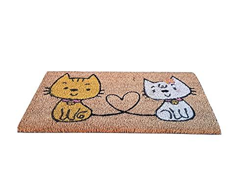 Felpudo de la casa Minimal, 25 x 50 cm, de fibra de coco, estampado, alfombra de secado con parte trasera antideslizante de PVC antideslizante, pequeño para escaleras, dormitorio, entrada