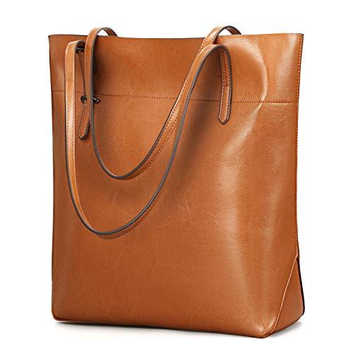 Kattee Vintage Genuine Leather Tote Shoulder Bag With Adjustable Handles (Light Brown)