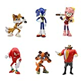 Newmemo Sonic the Hedgehog Cake Toppers- 6pcs Sonic Cartoon Characters Figures Toy, Sonic Birthday Cake Topper Cupcake Topper, Sonic Cake Decoration for Kids Birthday Baby Shower Sonic Theme Party