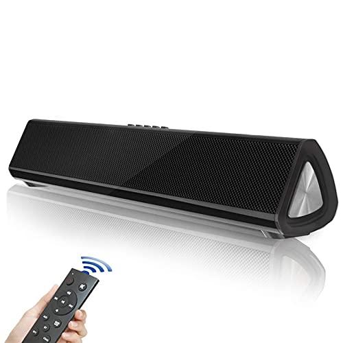 Barra de Sonido Fityou Barras de Sonido para TV con Subwoofer Diafragma, 20W Mini Soundbar 2.0 Canales, Altavoces Bluetooth 5.0 con Control Remoto, Soporte Conexiones de Coaxial/USB/AUX/RCA