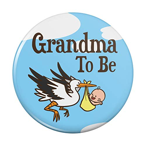 "Grandma To Be Stork Baby Grandmother Pinback Button Pin Badge - 3"" Diameter"