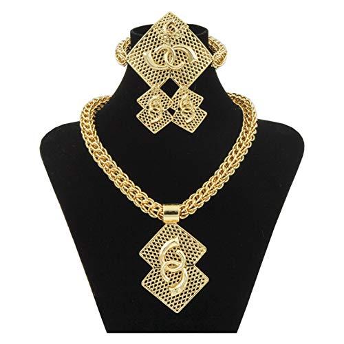DSJTCH Luxury Nigerian Women Wedding Jewelry Sets Big Chunky Necklace Earrings Bridal Dubai Gold African Beads Jewelry Set (Length : 45cm, Metal color : 18K set)