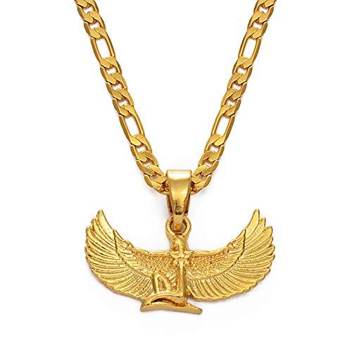 HMANE Collares con Colgante de Diosa egipcia, Cadenas de alas de Color Dorado, Babero Ankh, joyería pagana Wicca, religión egipcia, 60 Cm