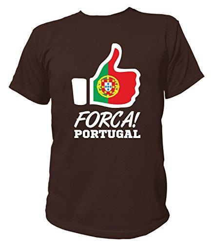 Artdiktat Herren T-Shirt - Like WM 18 - Forca Portugal - Russia Russland Größe XXXL, braun