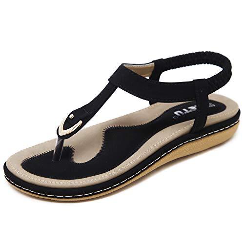 JIANKE Sandales Femme Plates Été Bohème Sandales Confortables Chaussures pour Plage Vacances Noir 40 EU
