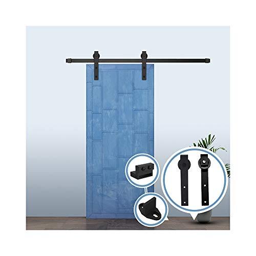 6.6FT/200 cm Herraje para Puerta Corredera Kit de Accesorios para Puertas Correderas,Negro J-Forma