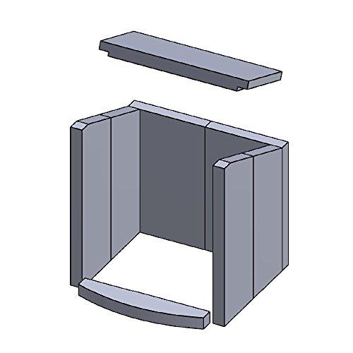 Flamado Feuerraumauskleidung Komplettset 8-teilig passend für Hark Kamin Ersatzteile Kaminofen Brennraumauskleidung Vermiculite