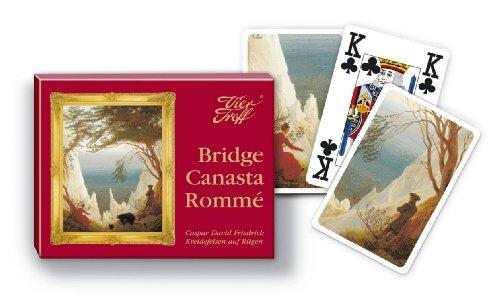 Vier Treff Spielkarten Caspar David Friedrich - Kreidefelsen auf Rügen - Bridge, Canasta, Rommé