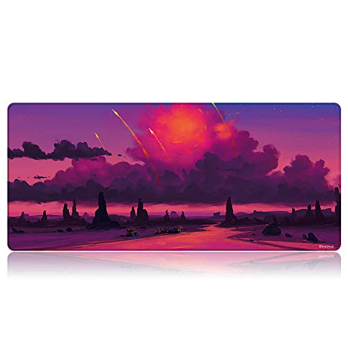 Bimormat Anime Gaming Mouse Pad,XXL Large Extended Desk Pad (35.4x15.7 inches),High-Performance Mousepad Optimized for Gamer (90x40 D25purplecloud)