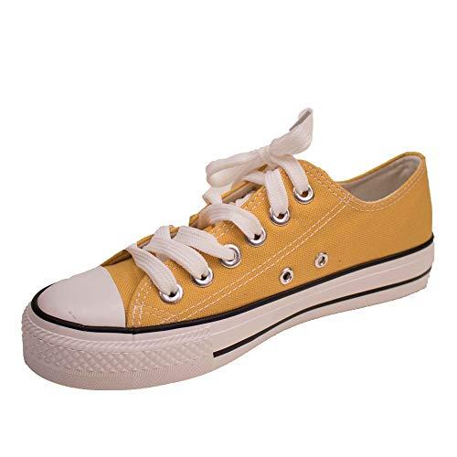 Zapatillas de mujer de tela con suela de goma, Amarillo (amarillo), Fr 40