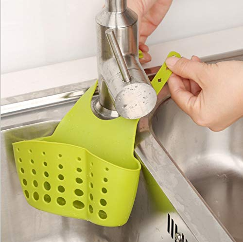 Kitchen Gadgets Tools Utensils Organizer Adjustable Snap Sink Soap Sponge Holder Hanging Drain Basket Kitchen Accessories. Green