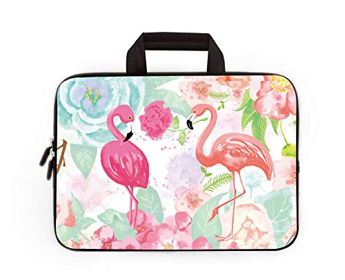 RUYIDAY 14 15 15.4 15.6 inch Laptop Handle Bag Computer Protect Case Pouch Holder Notebook Sleeve Neoprene Cover Soft Carrying Travel for Dell Lenovo Toshiba HP Chromebook ASUS Acer (Flamingos)